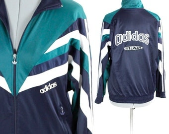 Vintage Retro Green Team Adidas Zip Up Sports Athletic Jacket