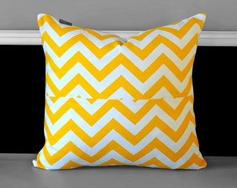 "Pillow Cover - Yellow Chevron 20"" x 20"""