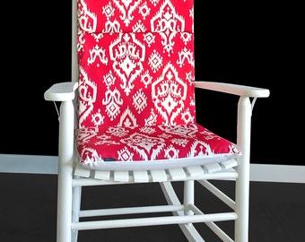 Red Ikat Rocking Chair Cushion