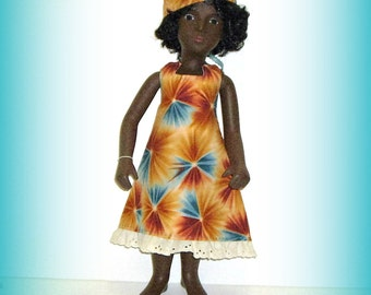 "Handmade Doll Clothes for Vintage 16"" Sasha Doll, Multicolor Geometric Print Halter Style Sun Dress and Hat"