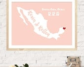 Custom Wedding Map, Wedding Guest Book, Alternative Wedding Guestbook, Unique Wedding Guestbook, Mexico Wedding, Any State or Country Map