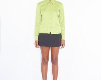 90s Lime Green Long Sleeve Button Down Shirt