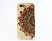 Natural Maple Wood iPhone 6 case Painted Mandala iPhone 6 cover - NW6002
