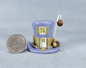 Handcrafted Miniature Fairy House In A Mad Hatter's Hat  OOAK by O'Dare
