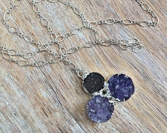 Purple Druzy Necklace // Sterling Silver Chain, Round Circle, Raw Crystal Stone, Delicate Layer, Trio Flower Pendant, Mineral Rock, Boho