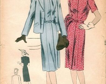 Lovely Unused Vintage 1940s Vogue 9636 WWII Era Fly-Front Dress and Jacket Sewing Pattern B32