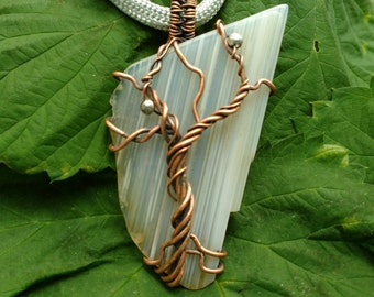 Tree of Life Haida Gwaii Agate Pendant with Copper Wirework and Sterling Silver Beads