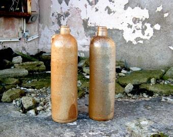Pair of 1850s German Stoneware Bottles - Perfect Display Home/Restaurant/Shop