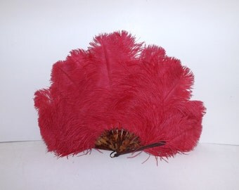 Vintage 1920s large flapper real bright pink ostrich feather hand fan with celluloid struts burlesque dancer
