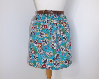 Handmade sugar skulls day of the dead amor skull bright blue high waisted skirt