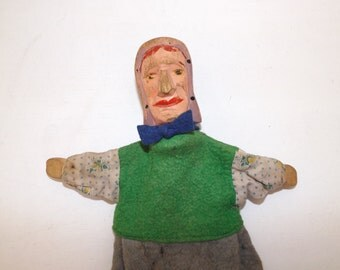 Antique early 1900s German Judy Punch and Judy wooden carved painted hand puppet