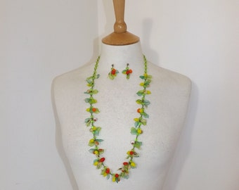 Vintage 1940s Murano glass novelty fruit necklace hand blown fruits beads with matching earrings