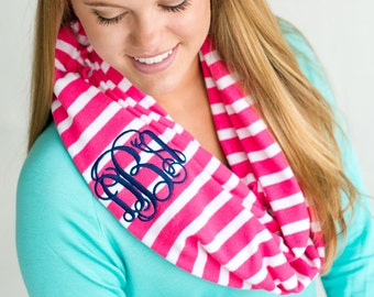 Infinity scarf, monogram hot pink stripe infinity scarf for women, SALE, Monogrammed scarf, Monogrammed gifts for her