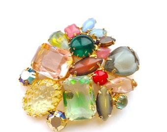 Juliana Fruit Salad Brooch Multi Color Art Glass Rhinestone Vintage Designer Fashion Jewelry