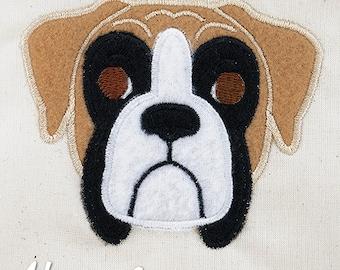 Boxer Applique Embroidery Design, dog applique, boxer dog applique, machine embroidery, dog embroidery, boxer embroidery, dog breed, puppy