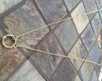 Gold circle necklace with loops
