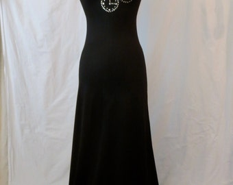 MR BOOTS limited edition black maxi dress - embellished rhinestone pocket watch - steampunk - sz XS