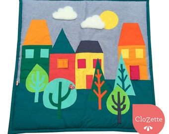 Comfy Baby play mat, blues houses