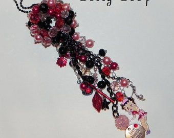 Betty Boop Inspired Beaded Ball Car Charm Dazzler - Pink, Black and Red - Betty Boop, Flower, Key, Purse, Shoe, Lips, Live Laugh Love