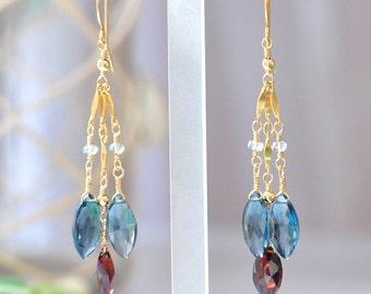 London Blue Topaz & Garnet earrings, Blue Topaz Earrings, Red Garnet Earrings, Deep Blue stone Earrings, Long earrings, Romantic Jewelry