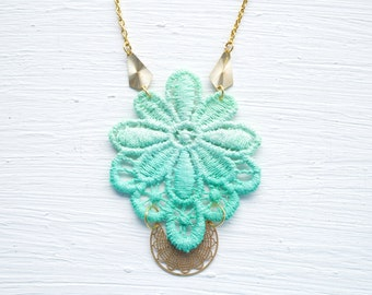 Mint Lace and Gold Necklace