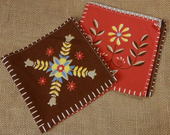 Two Vintage Table Napkins Pennsylvania Dutch Type FLoral Folk Art in  Red and Brown Mid Century Table Linens