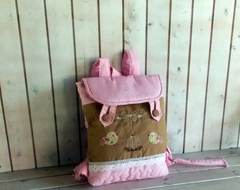 Pale pink dotties, and birds in green  and pink  quilted   kids backpack for preschooler,