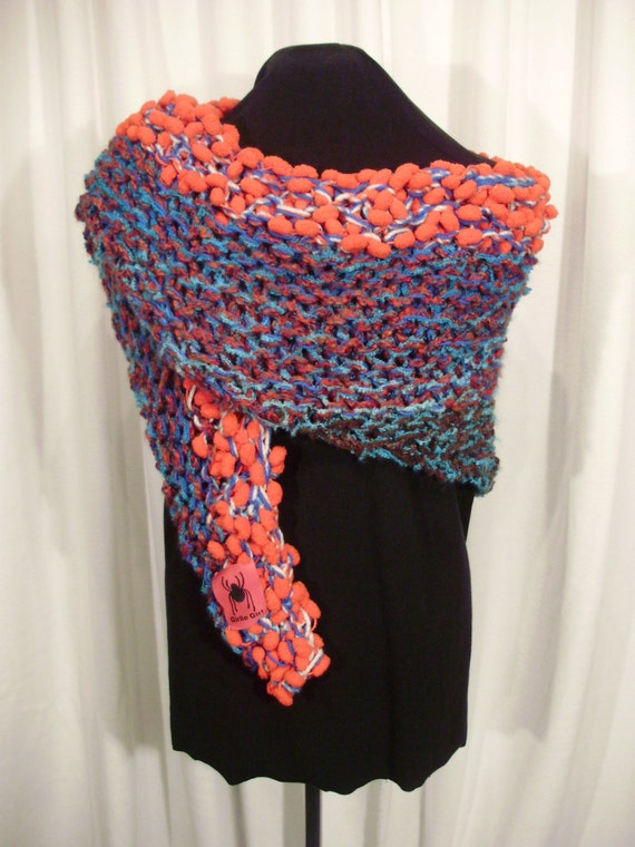 red and blue knit wrap--Bobble Head Knit Shawl