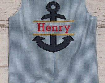 Boys Monogram Nautical Shortall Longall Anchor First Birthday Jon Jon Romper Take Me Home