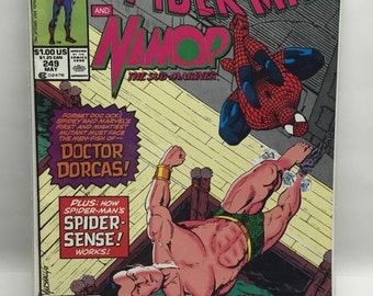 Spiderman and Namor COMIC BOOK SPIDERMAN May 1991 No. 249 Marvel Tales Featuring Spiderman and Namor McFarlane Boarded