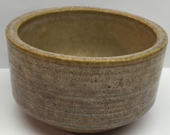 Zanesville Ironstone Bowl Planter homespun ribbed bowl tan brown  Salt glaze 7004