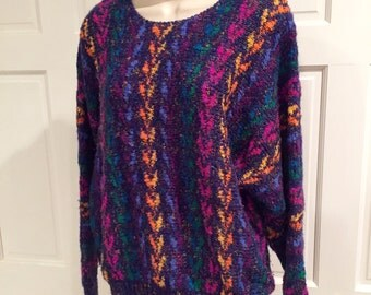 80s 90s Womens Colorful Sweater - Le Moda - size L