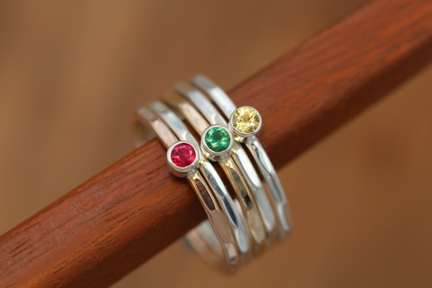 sapphire ruby and emerald stacking ring set yellow. Black Bedroom Furniture Sets. Home Design Ideas