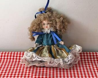 vintage italian porcelain doll - CURLY HAIR doll