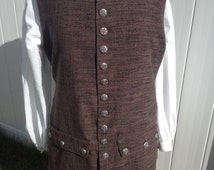 Men's Colonial Pirate Waistcoat Vest Brown size X-Large - READY TO SHIP