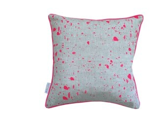 Neon pink Ink Splatter linen cushion cover