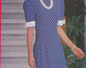 1992 Prim and Proper Princess Diana Day Dress Vintage Pattern, Butterick See & Sew 5960, Crisp White Cuffs with Bow, High Neck, Slim Fit