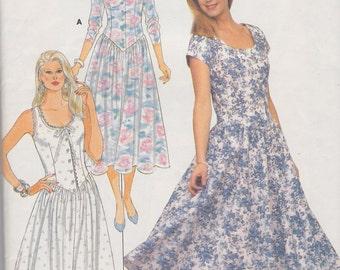 1987 Prettiest Dress in the World Vintage Pattern, Butterick 5591, Lauren Prairie Dress Knock Off, Scoop Neck, Fitted Bodice, Full Skirt
