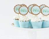 Boys First Birthday Party Cupcake Toppers 1st Birthday Cake Topper Blue and Green Party Supplies Boy Birthday Party Decorations / Set of 12