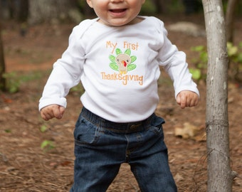 Baby First Thanksgiving Outfit, 1st Thanksgiving Shirt, My First Thanksgiving Outfit, Turkey Applique Shirt