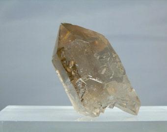 Collectible Quartz Crystal 2.76 inch Double Terminated Natural Smoky Quartz Crystal with a Multi Termination Bottom. Minas Gerais, Brazil