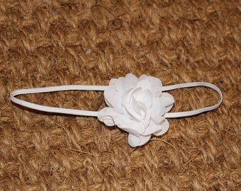 Baby headband with white chiffon flower