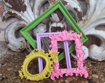 Empty Gallery Frames, Pink and Green, Ornate Frames, Vintage Frame Set, Open Frames, Gallery Wall Frames