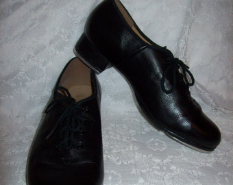 Vintage Ladies Black Leather Tap Shoes by Bloch Size 9 Only 12 USD