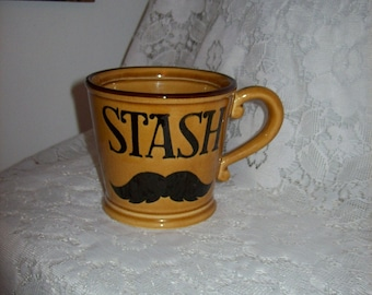 Vintage Harvest Gold 'Stash' Mustache Shaving Mug Only 5 USD