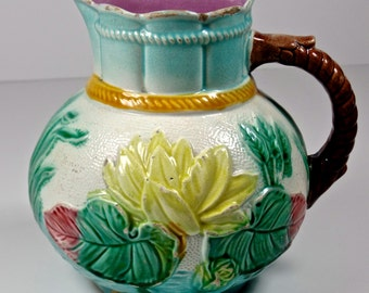 Antique Majolica Pitcher, English Majolica Pitcher Water Lilies