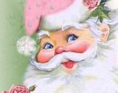 Pink Santa with Roses Fabric Block - Art Print