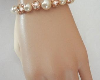 Gold pearl bracelet ~ Swarovski Pearls and crystal fireballs  - Bridal Jewelry - Bridesmaids gift - Wedding jewelry - Classic~ISABELLA