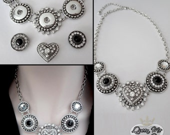 Heart necklace ~ Snap on Jewelry ~  Chunky, snap button, charm necklace ~ Crystal snap on heart, statement necklace ~ Snap jewelry ~ Gift