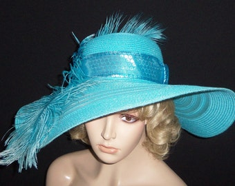 Wide Brim Turquoise Hat - Kentucky Derby Hat